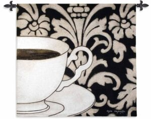 Damask Coffee Black | 43 x 45 | Woven Tapestry Hanging