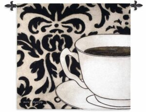 Damask Coffee White | 43 x 45 | Woven Tapestry Hanging