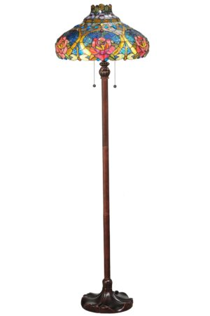 "Dragonfly Rose | Victorian Art Glass Floor Lamp | 60"" H"
