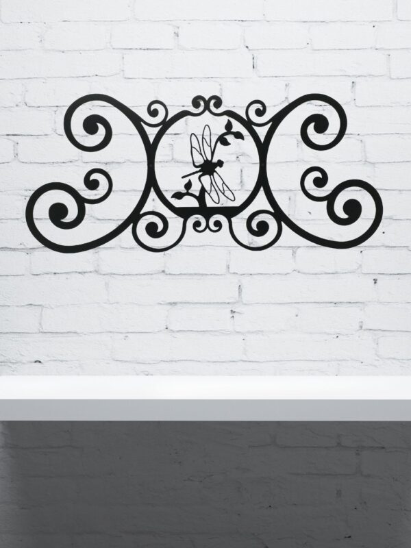 """Dragonfly Wrought Iron Wall Plaque 
