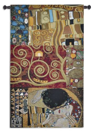 Elements to a Kiss by Gustav Klimt | Wall Art Tapestry | 59 x 34