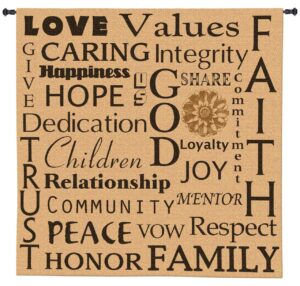 Family Values | Inspirational Tapestry Wall Hanging | 53 x 52