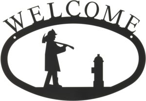 Fireman Large Wrought Iron Welcome Sign