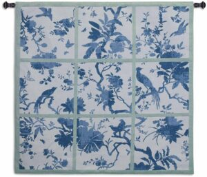 "Floral Division Blue/Green | 44"" x 43"" 