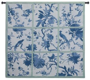 "Floral Division Blue/Green | 53"" x 52"" 