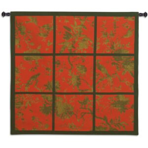 Floral Division Red Gold Black | Large Woven Art Tapestry | 52 x 53