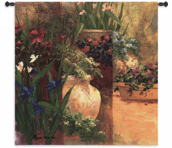 """Flower Pots   53"""" x 53""""   Woven Wall Tapestry"""