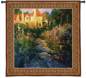 """Garden Walk at Sunset   52"""" x 55""""   Tapestry Wall Hanging"""