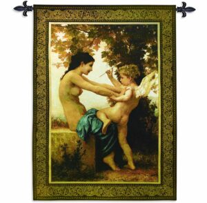 Traditional Art Girl Defending Herself Against Love | 52 x 37 | Tapestry Wall Decor