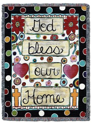 God Bless Our Home Throw Blanket | 72 x 54