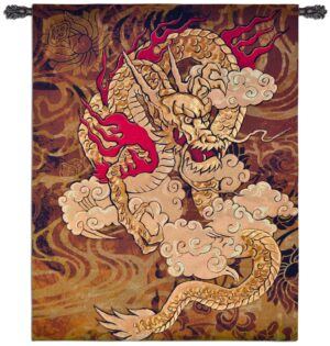 Golden Dragon | Asian Inspired Wall Tapestry | 67 x 53