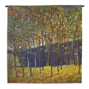 Green Gold Stand | Woven Landscape Art Tapestry | 53 x 53