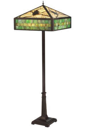 Green Pine Branch Mission Stained Glass Floor Lamp | 64.5""