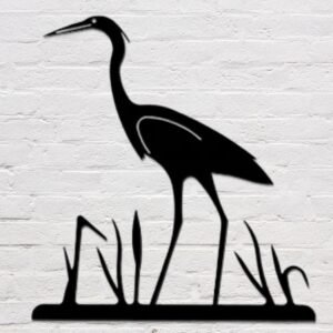 Rustic Heron Wrought Iron Wall Decor | 23 x 22