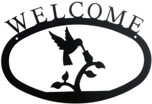 Large Rustic Wrought Iron Welcome Sign - Hummingbird