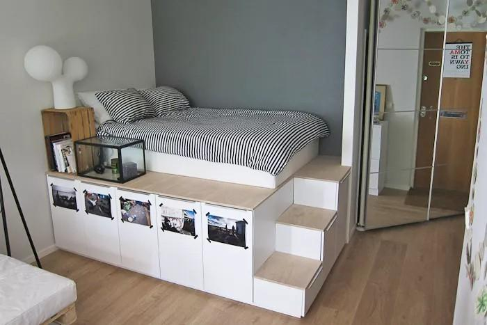 IKEA Kitchen Cabinet Raised Platfrom Bed with Storage