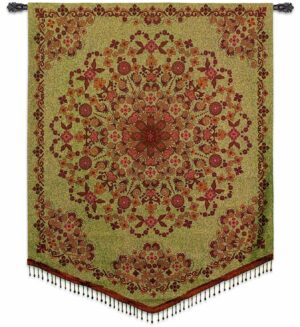 "Indian Tapestry with Glass Bead Trim | 42"" x 53"" 