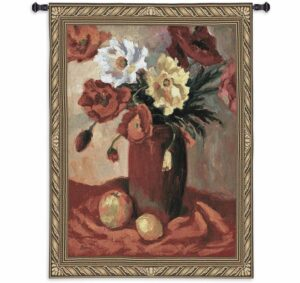 Janine Salzman Floral Earthenware Poppies | 40 x 53 | Tapestry Wall Hanging