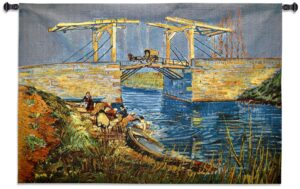 Langlois Bridge at Arles with Women Washing Wall Tapestry | 37 x 53