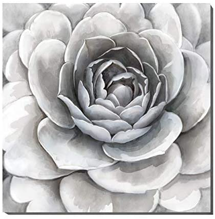 Large Gray Flower Canvas Wall Art