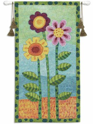Long Stem Floral II | 26 x 48 | Woven Hanging Tapestry