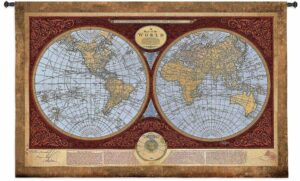 Map Of The World   36 x 53   Tapestry