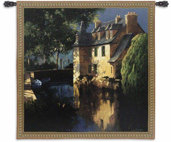 Max Hayslette Landscape Little Canal Annecy   53 x 53   Tapestry Wall Hanging