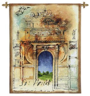 Monument II | Classic Architecture Woven Tapestry Wall Hanging | 76 x 64
