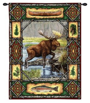 Moose Lodge | Rustic Tapestry Wall Hanging | 34 x 26