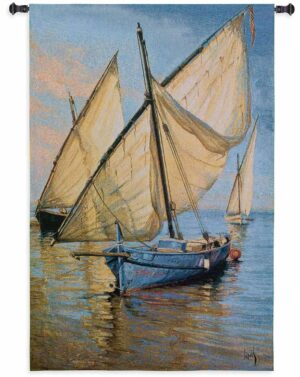 Nautical Hanging Violet Boat | 52 x 35 | Wall Tapestry