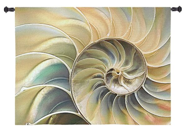 Nautilus Blue | Woven Coastal Tapestry Wall Hanging | 33 x 53