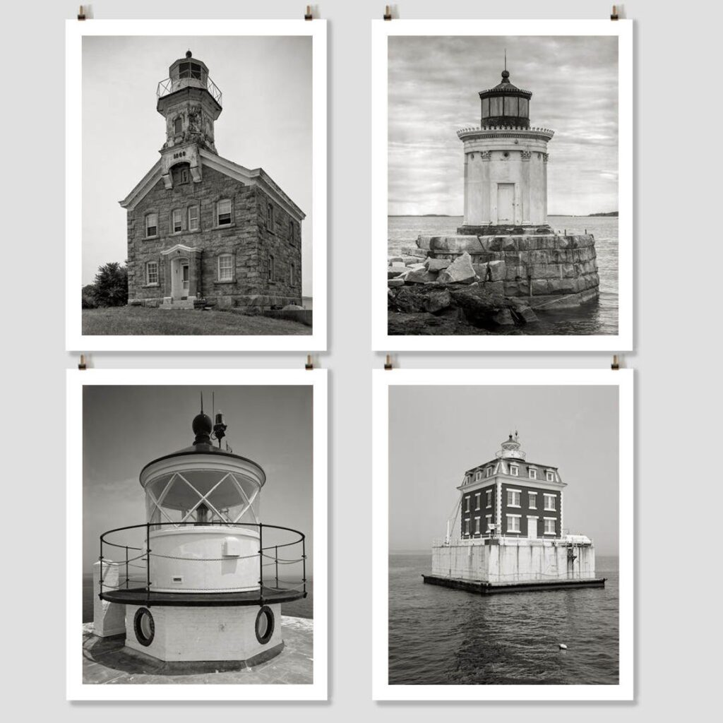New England Lighthouse Black & White Photo Collection