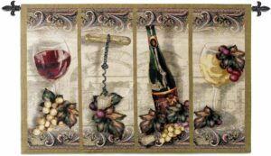 """Nouveau Wine   53"""" x 35""""   Woven Tapestry"""