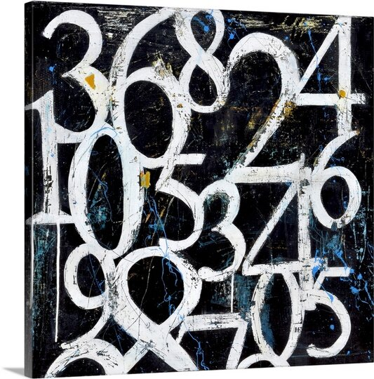 Numbers by Erin Ashley Black & White Art Print on Canvas