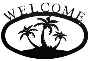 Large Rustic Wrought Iron Welcome Sign - Triple Palm Trees