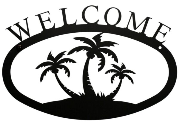 Palm Trees Large Wrought Iron Welcome Sign