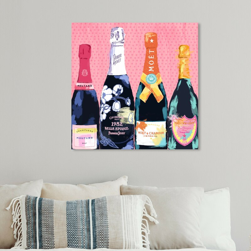 Pass the Bottle! Pink Champaign Art Print