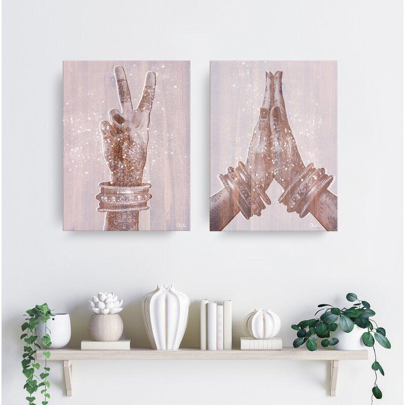 Peace and Namaste 2 Piece Pink-Washed Canvas Art Set