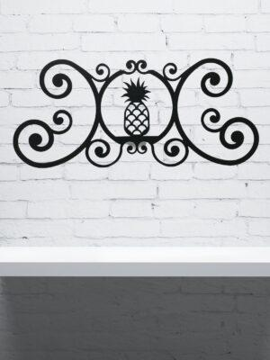 Pineapple Wrought Iron Wall Plaque | Indoor Outdoor | 24""