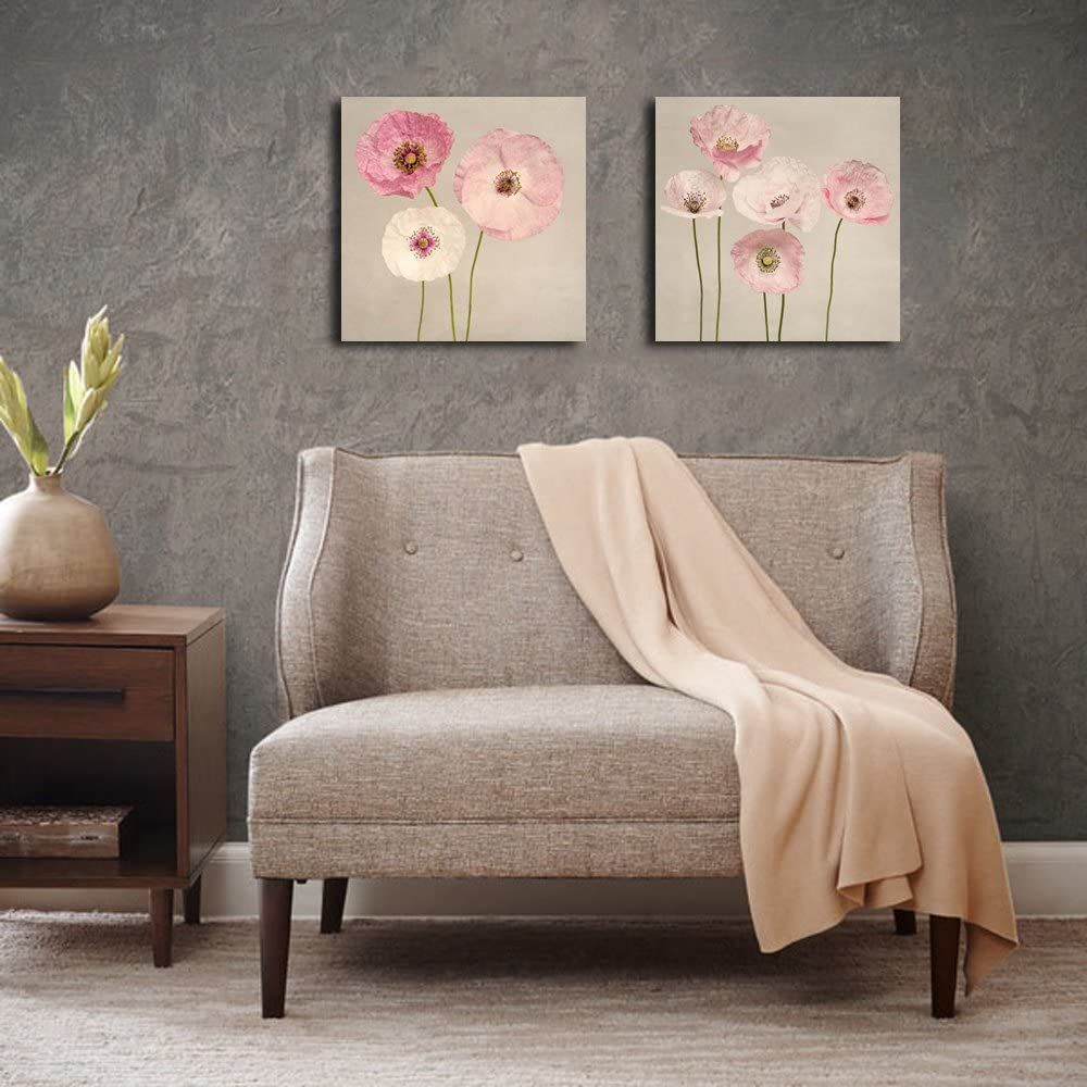 Pink Flowers Canvas Wall Art Set