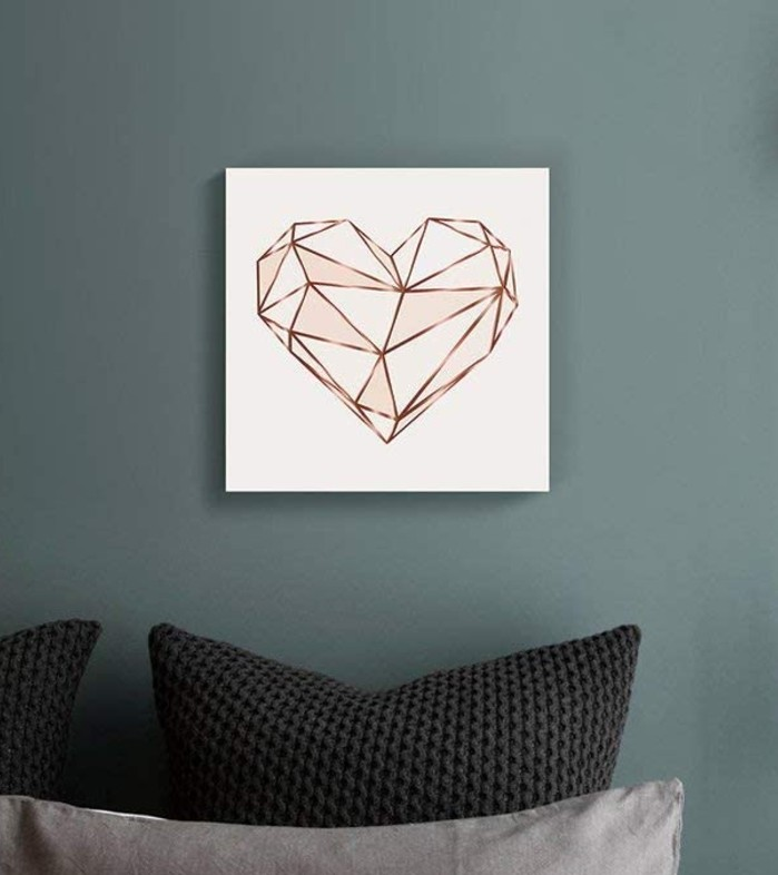 Pink Geometric Heart Graphic Art on Canvas