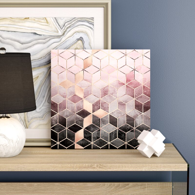 Pink and Gray Cubes Art Print by Elisabeth Fredriksson