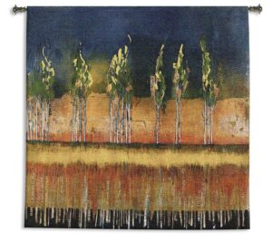 Poplars | Contemporary Landscape Woven Tapestry | 53 x 53