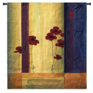 Poppy Tile I | Large Contemporary Tapestry Wall Hanging | 53 x 53