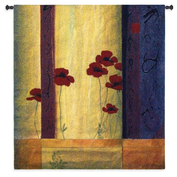 Poppy Tile I | Contemporary Floral Tapestry | 44 x 45