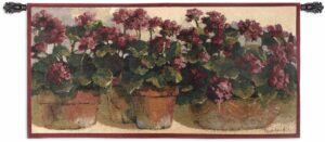 Potted Geraniums | 53 x 27 | Woven Hanging Tapestry