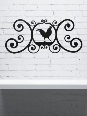 Rooster Wrought Iron Wall Plaque | Indoor Outdoor | 24""