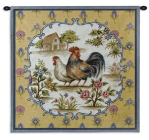 Roosters II | French Country Wall Tapestry | 35 x 35