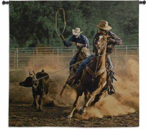 Roping on the Ranch III | 53 x 53 | Woven Tapestry Decor