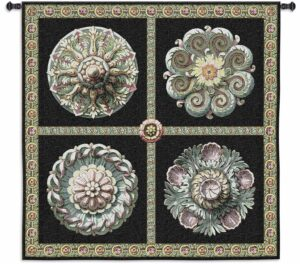 """Rosettes on Black   53"""" x 53""""   Tapestry Wall Hanging"""